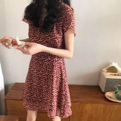Hevnir - Floral Print Short-Sleeve A-Line Mini Chiffon Dress