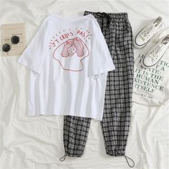 Eden's Corner - Set: Short-Sleeve T-Shirt + Plaid Harem Pants