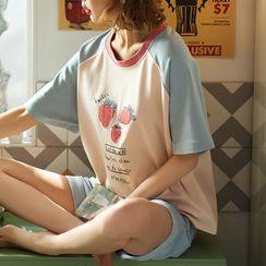 Jeony - 印花短袖家居服套装