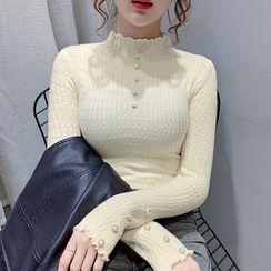 Norte - Long-Sleeve Faux Pearl Mock-Neck Knit Top