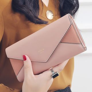 Hokkaisan - Color Panel Faux Leather Long Wallet