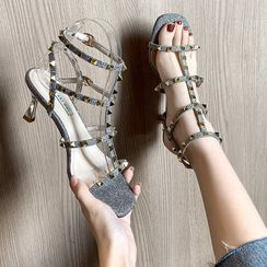 Vindler - Studded High-heel Roman Sandals