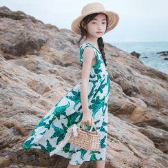 Youtale - Kids Sleeveless Leaf Print Midi A-Line Dress