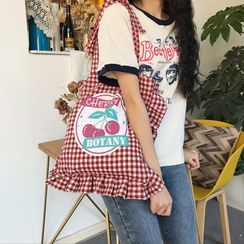 TangTangBags - Cherry Print Ruffled Gingham Canvas Tote Bag