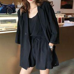Nagashi - 套装: 纯色西装外套 + 吊带背心 + 短裤