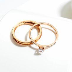 Tenri - Rhinestone Layered Ring