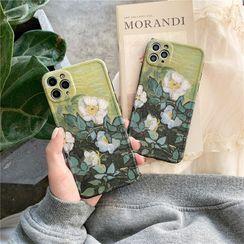 Surono - Floral Print Phone Case - iPhone 12 Pro Max / 12 Pro / 12 / 12 mini / 11 Pro Max / 11 Pro / 11 / SE / XS Max / XS / XR / X / SE 2 / 8 / 8 Plus / 7 / 7 Plus