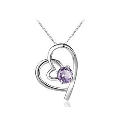 BELEC - 时尚925纯银心形吊坠配紫色锆石及项链