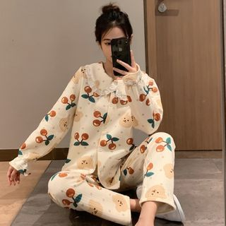 Endormi - Pajama Set: Bear Print Shirt + Pants
