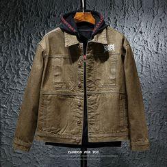 Carser - Letter Embroidered Denim Jacket