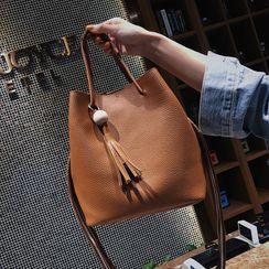 RAINBOWXX - Set: Faux Leather Bucket Bag + Crossbody Bag