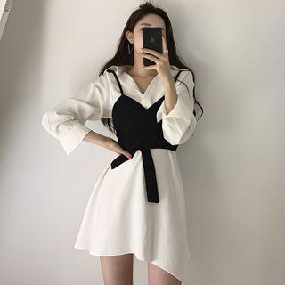 Horis - Set: Long-Sleeve Shirtdress + Wrap Camisole Top