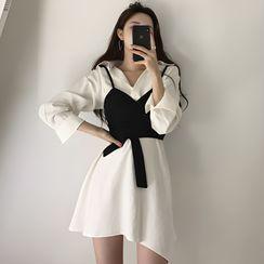 Horis - 套裝: 長袖襯衫裙 + 吊帶上衣