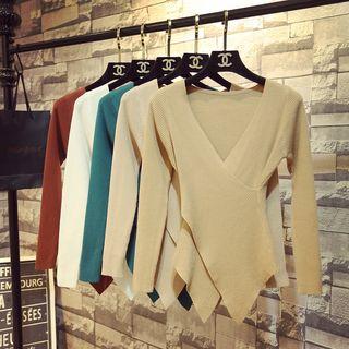 ZELE - Long-Sleeve V-Neck Asymmetric Hem Knit Top
