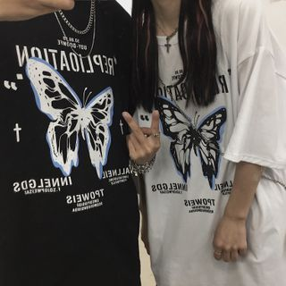 Malnia Home - Couple Matching Short Sleeve Butterfly Printed T-Shirt