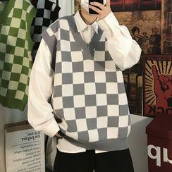 YERGO - Checkered Sweater Vest