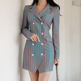 ISMY - 条纹迷你塑身大衣裙