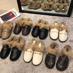 POPOW - Faux Leather Furry Panel Loafers