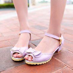 Freesia - 蝴蝶结饰粗跟踝带凉鞋
