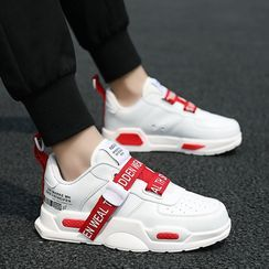 Auxen(オークセン) - Platform Lace Up Lettering Sneakers