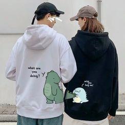 Opis - Couple Matching Dinosaur Print Hooded Sweatshirt