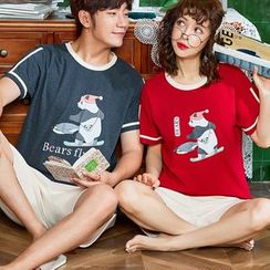 PJ Party - Couple Matching Loungewear Set: Short-Sleeve Top + Pants