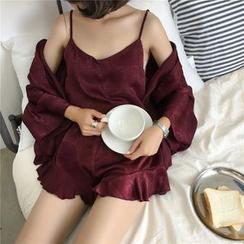 Kojasmine - Set de ropa de dormir: Bata + Camisola + Pantalones cortos