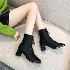 Cymbeline - Chunky-Heel Lace-Up Short Boots