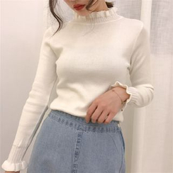 ISSOL - Frilled Mock-Neck Long-Sleeve Knit Top
