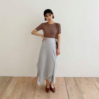 chuu - Fringe Asymmetric Long Wrap Skirt