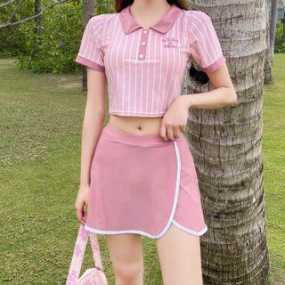 ASUMM - Set: Short-Sleeve Polo-Neck Swim Top + Swim Skirt