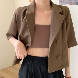 Laeron - Short-Sleeve Double-Breasted Blazer