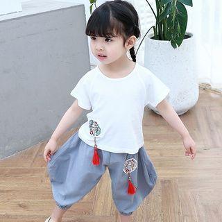 SEE SAW - 小童套裝: 刺繡短袖T裇 + 牛仔褲