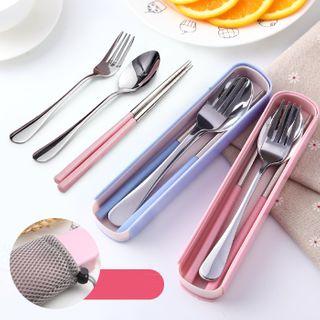 四季美 - 套装: 不锈钢筷子 + 勺子 + 叉子