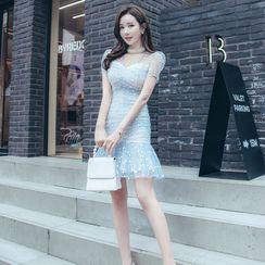 Cape Jasmine - Short-Sleeve Mesh Mini Dress