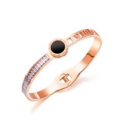 BELEC(ベレック) - Elegant and Stylish Plated Rose Gold Roman Numerals Geometric Round 316L Stainless Steel Bangle with Cubic Zirconia