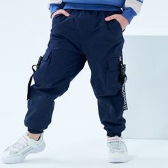 Happy Go Lucky - Kids Buckled Lettering Cargo Pants