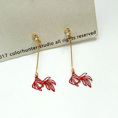 Isle of Green - Goldfish Outline Dangle Earrings