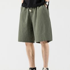 Groove Tower - Knee-Length Pinstriped Shorts