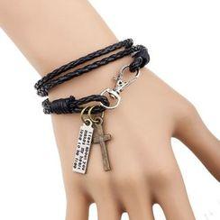 KINNO - Cross Faux Leather Layered Bracelet
