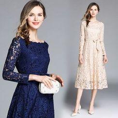 Justina - Long-Sleeve Midi Lace Dress