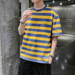 Besto - Striped Short-Sleeve Pocket T-Shirt