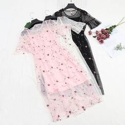 Be Bonita - Set of 2: Spaghetti Strap Dress + Mesh Short-Sleeve Embroidered A-Line Dress