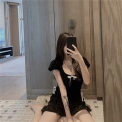 Lushii - Short-Sleeve Bow Velvet Mini A-Line Dress