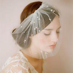Neostar - Faux Pearl Embellished Wedding Birdcage Veil