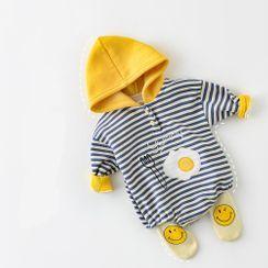 Cen2ury - Baby Hooded Striped Egg Print Bodysuit