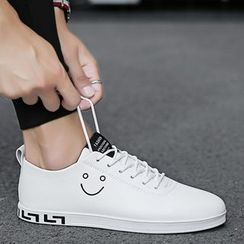 HANO - Smiley Face Faux Leather Sneakers