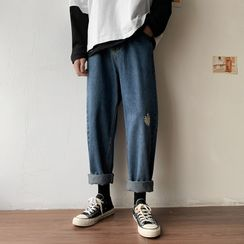 DuckleBeam - Embroidered Wide Leg Jeans