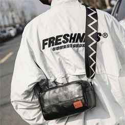 SUNMAN - Chevron Strap Faux Leather Crossbody Bag