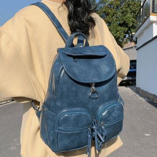shinescape - Faux Leather Buckled Backpack